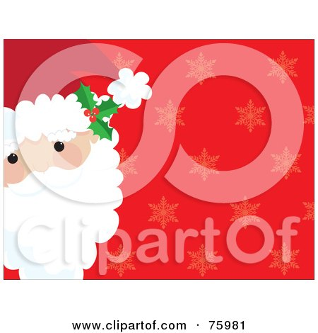 Royalty-Free (RF) Clipart Illustration of Santa's Face On The Side Of A Red Background With Faint Snowflakes by Maria Bell