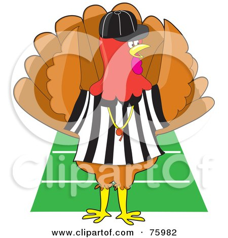 Royalty-Free (RF) Clipart Illustration of a Turkey Bird Football Referee Signaling A Touch Down On A Field by Maria Bell