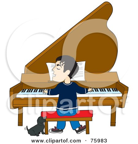 Royalty-Free (RF) Clipart Illustration of a Little Dog Howling And Wagging His Tail While A Man Sings And Plays A Piano by Maria Bell