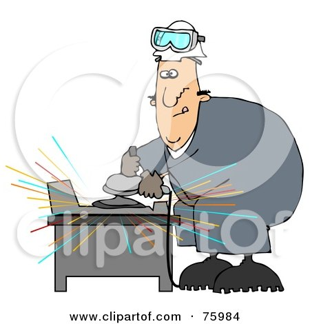 Royalty-Free (RF) Clipart Illustration of a Man Going Cross Eyed While Operating An Angle Grinder To Grind Metal by djart