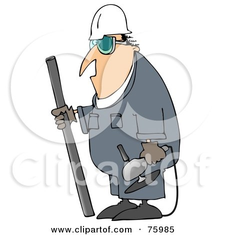 Royalty-Free (RF) Clipart Illustration of an Industrial Worker Man Carrying A Piece Of Metal And An Angle Grinder by djart