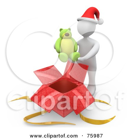 Royalty-Free (RF) Clipart Illustration of a White Person Wearing A Santa Hat And Holding A Teddy Bear Over A Christmas Gift Box by 3poD