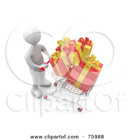 Royalty-Free (RF) Clipart Illustration of a White Person Pushing A Shopping Cart With Yellow And Red Christmas Gifts by 3poD