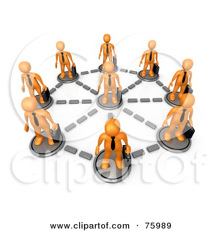 Royalty-Free (RF) Clipart Illustration of Orange Business Men With Briefcases, Standing In A Network Circle by 3poD