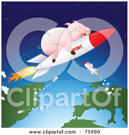 Royalty-Free (RF) Clipart Illustration of Pink Pigs Shooting Through Space On H1N1 Rockets by Paulo Resende