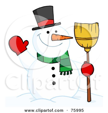 Royalty-Free (RF) Clipart Illustration of a Joyous Snowman Holding A Broom And Waving by Hit Toon