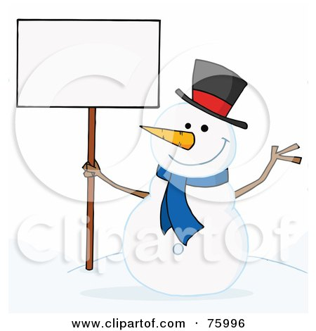 Royalty-Free (RF) Clipart Illustration of a Joyous Snowman Holding A Blank Sign On A Hill by Hit Toon