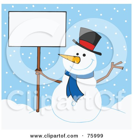 Royalty-Free (RF) Clipart Illustration of a Jolly Snowman Holding A Blank Sign In The Snow by Hit Toon