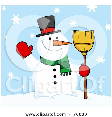 Royalty-Free (RF) Clipart Illustration of a Friendly Snowman Holding A Broom And Waving In The Snow by Hit Toon