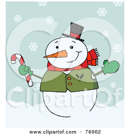 Royalty-Free (RF) Clipart Illustration of a Jolly Snowman Holding A Candy Cane In The Snow by Hit Toon