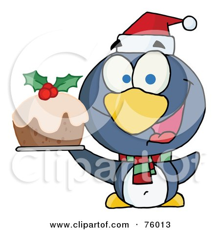 Royalty-Free (RF) Clipart Illustration of a Happy Christmas Penguin Holding Christmas Pudding by Hit Toon