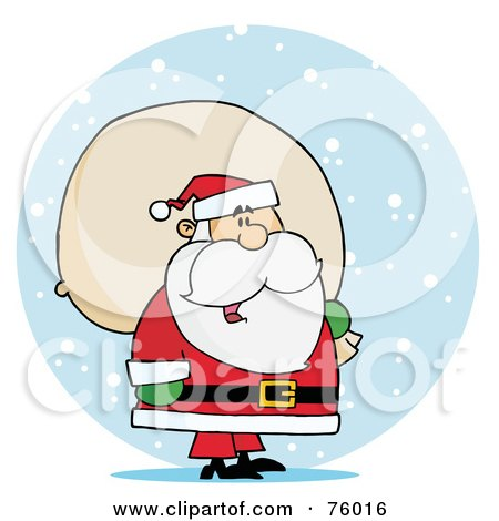Royalty-Free (RF) Clipart Illustration of a Jolly Kris Kringle Carrying A Toy Sack In The Snow by Hit Toon