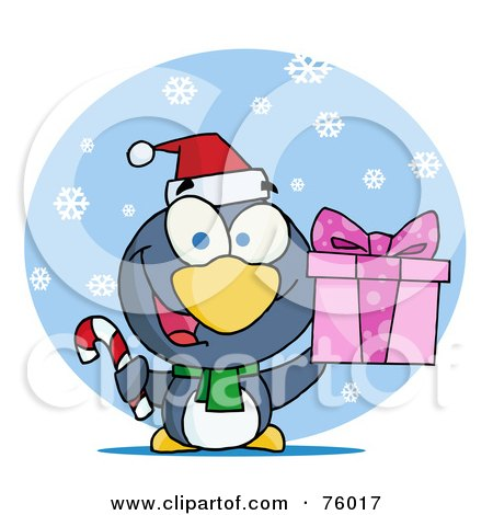Royalty-Free (RF) Clipart Illustration of a Giving Christmas Penguin Holding A Present And Candy Cane In The Snow by Hit Toon