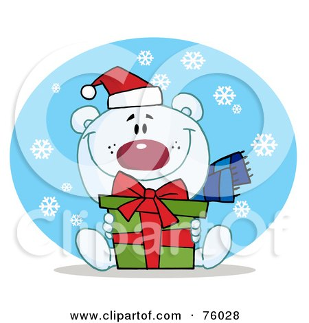 Royalty-Free (RF) Clipart Illustration of a Thoughtful Christmas Polar Bear Holding A Gift In The Snow by Hit Toon