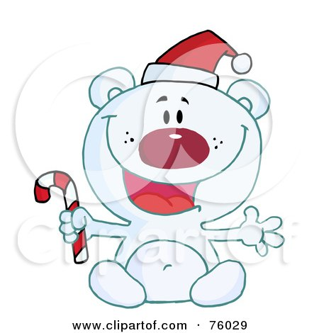 Happy Christmas Polar Bear Holding A Candy Cane Posters, Art Prints