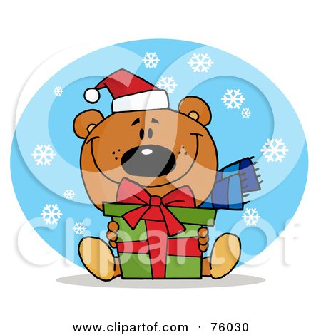 Royalty-Free (RF) Clipart Illustration of a Thoughtful Christmas Bear Holding A Present In The Snow by Hit Toon
