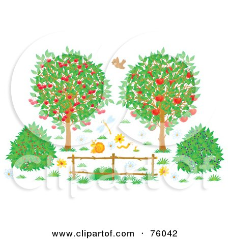 Royalty-Free (RF) Clipart Illustration of a Bird, Snail, Worms And Dragonfly Near Cherry And Apple Trees And Berry Bushes by Alex Bannykh
