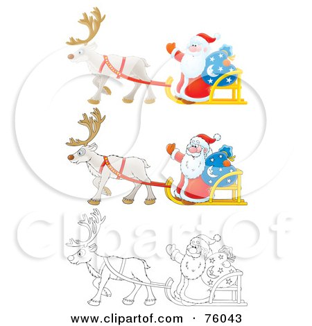 Santa Waving And Riding On His Sleigh; Cartoon, Airbrushed And Outline