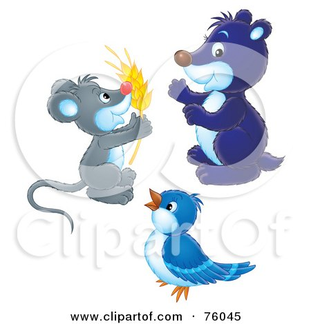 Royalty-Free (RF) Clipart Illustration of a Digital Collage Of A Mouse Holding Wheat, A Blue Gopher And A Blue Bird by Alex Bannykh