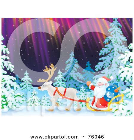 Royalty-Free (RF) Clipart Illustration of Santa Riding In A Single Caribou Sleigh Through A Winter Forest Under The Northern Lights by Alex Bannykh