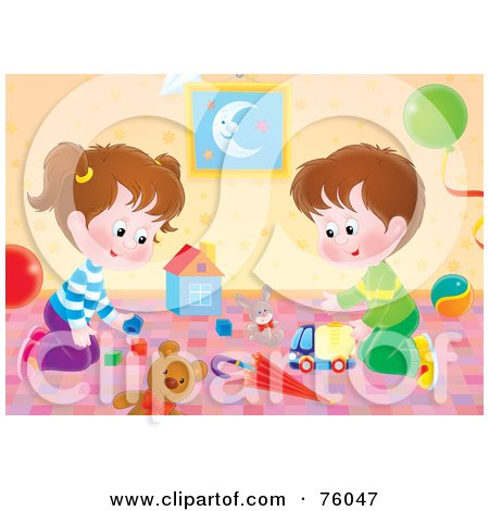 Royalty-Free (RF) Clipart Illustration of a Brother And Sister Playing With Toys In Their Play Room by Alex Bannykh