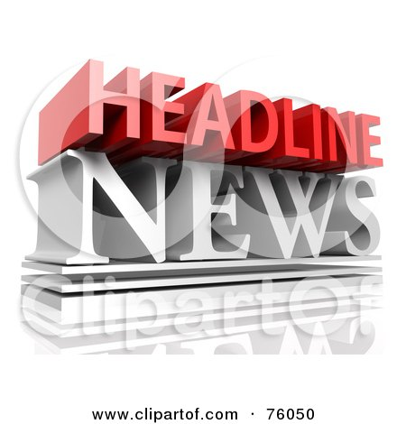 Royalty-Free (RF) Clipart Illustration of a 3d Typographic Design Of Red And White Words; HEADLINE NEWS by Tonis Pan