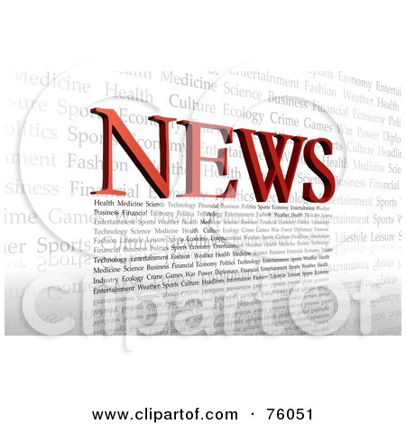 Royalty-Free (RF) Clipart Illustration of Red NEWS Letters And Other Text Forming A Typographic Design Over White by Tonis Pan