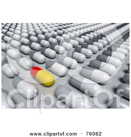 Royalty-Free (RF) Clipart Illustration of a 3d Red And Yellow Pill Mixed In With Rows Of White And Gray Pills by Tonis Pan