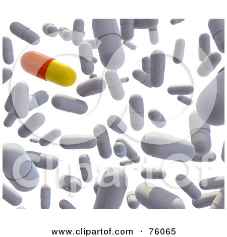 Royalty-Free (RF) Clipart Illustration of a Background Of A 3d Red And Yellow Pill With White Capsules Falling Over White by Tonis Pan