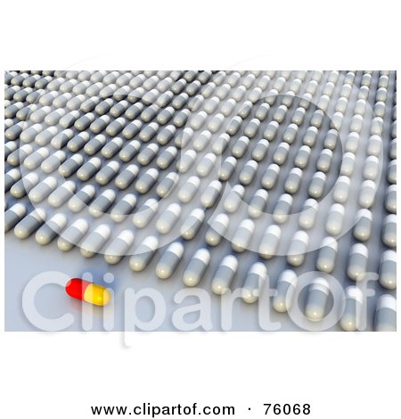 Royalty-Free (RF) Clipart Illustration of a 3d Red And Yellow Pill Resting In Front Of Rows Of White And Gray Pills by Tonis Pan