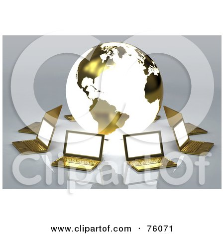 Royalty-Free (RF) Clipart Illustration of a Network Of Golden Laptops Circling A Globe With The American Continents by Tonis Pan