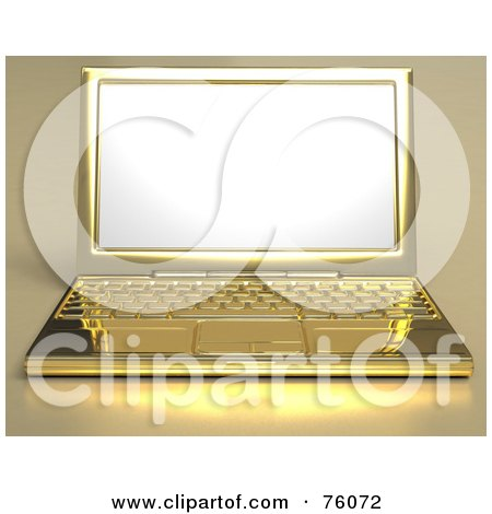 Royalty-Free (RF) Clipart Illustration of a Rendered 3d Golden Laptop Computer With A Blank White Screen by Tonis Pan