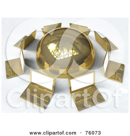 Royalty-Free (RF) Clipart Illustration of a Network Of Golden Laptops Circling A Gold Sphere by Tonis Pan