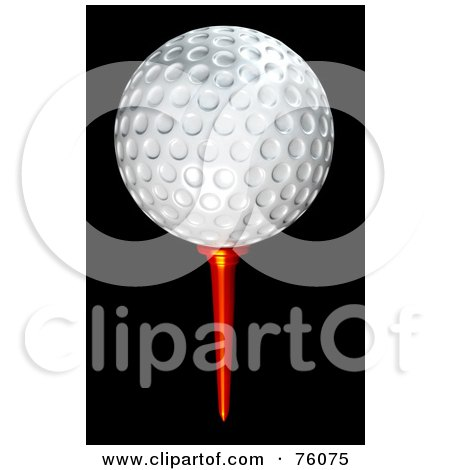 Royalty-Free (RF) Clipart Illustration of a 3d White Golf Ball On A Red Tee Over Black by Tonis Pan