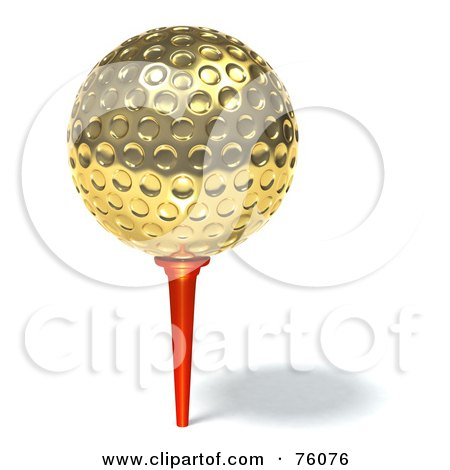 Royalty-Free (RF) Clip Art Illustration of a 3d Golden Golf Ball On A Red Tee by Tonis Pan