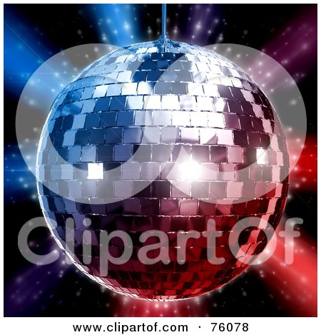 Royalty-Free (RF) Clipart Illustration of a 3d Rendered Silver Disco Ball Over Red And Blue Lights On Black by Tonis Pan