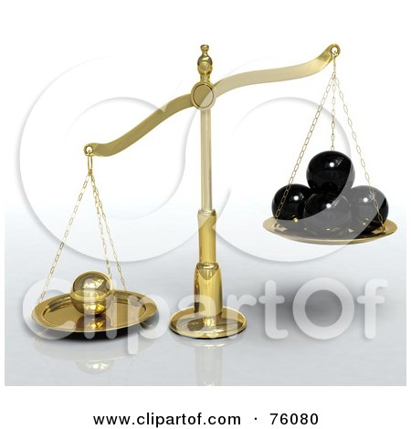 Royalty-Free (RF) Clipart Illustration of a Golden 3d Scales Leaning Towards A Single Golden Sphere Rather Than 4 Black Spheres, Metaphor For Exceptional Individual by Tonis Pan