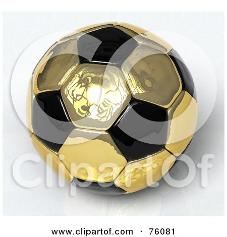 Royalty-Free (RF) Clipart Illustration of a 3d Golden Reflective And Black Soccer Ball by Tonis Pan