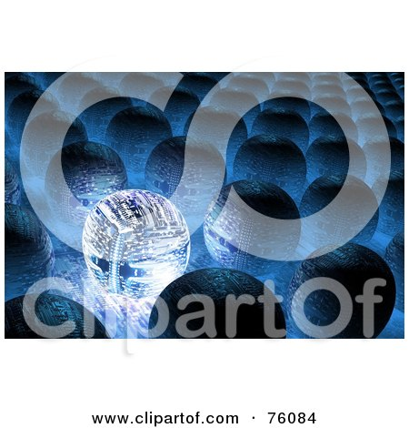 Royalty-Free (RF) Clipart Illustration of a 3d Blue Glowing Circuit In Rows Of Other Orbs by Tonis Pan