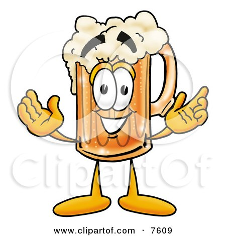 Clipart Picture of a Beer Mug Mascot Cartoon Character With Welcoming Open Arms by Toons4Biz