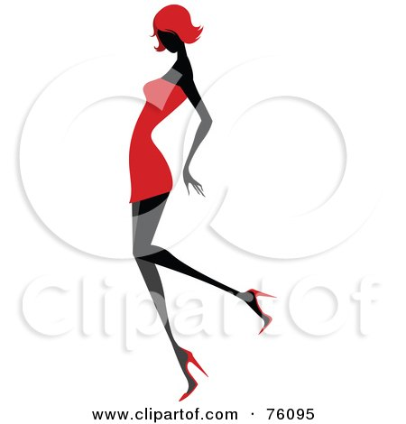 Royalty-Free (RF) Clipart Illustration of a Sexy Lady In Red, Strutting In A Dress - Version 4 by OnFocusMedia