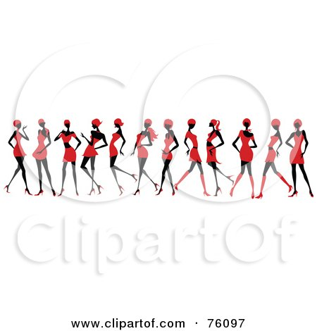 Royalty-Free (RF) Clipart Illustration of a Line Of Sexy Women Strutting In Red Dresses And Skirts by OnFocusMedia