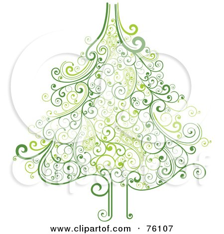 Royalty-Free (RF) Clipart Illustration of an Ornate Green Swirly Christmas Tree On White by OnFocusMedia