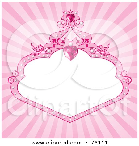 Royalty-Free (RF) Clipart Illustration of a Pink Burst Spoiled Princess Background Of A Heart Gem And Frame Around White by Pushkin