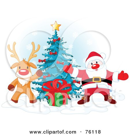 Royalty-Free (RF) Clipart Illustration of Rudolph The Red Nosed Reindeer And Santa Presenting A Gift In Front Of A Christmas Tree by Pushkin