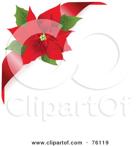 Royalty-Free (RF) Clipart Illustration of a White Background With A Red Ribbon And Poinsettia Corner by Pushkin