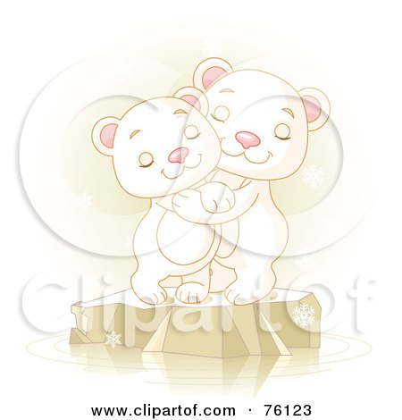 Royalty-Free (RF) Clipart Illustration of Two Adorable Polar Bears Hugging And Smiling On Ice by Pushkin
