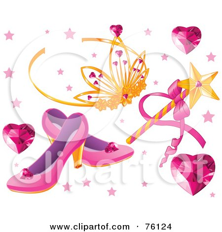 Royalty-Free (RF) Clipart Illustration of a Digital Collage Of Heart Gems, A Tiara, Magic Wand And Slippers by Pushkin