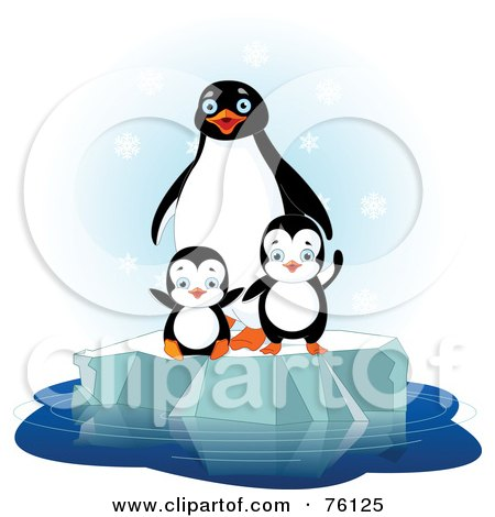 Royalty-Free (RF) Clipart Illustration of a Penguin Family Playing On Floating Ice In The Snow by Pushkin