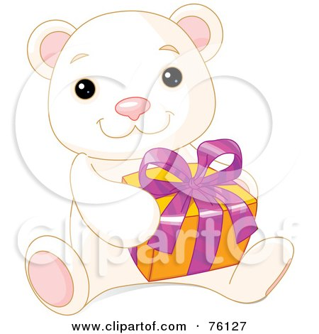 Royalty-Free (RF) Clipart Illustration of a Thoughtful Cute Polar Bear Holding A Present by Pushkin